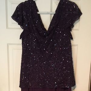 ZARA Plus 16W Beaded Bodice Evening Gown Burgundy